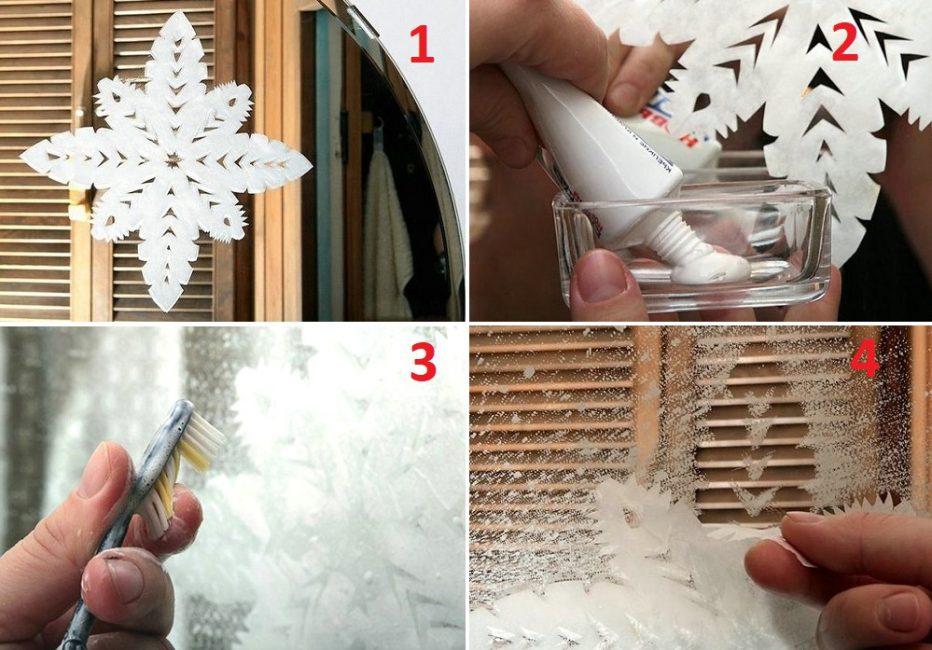 Способ нанесения зубной пасты на трафарет для создания снежного эффекта