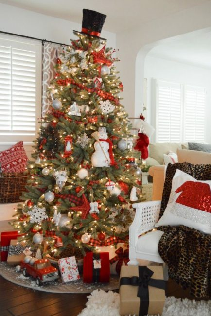 Снеговик – тоже полноценное украшение для ели, а вместо верхушки – цилиндр!