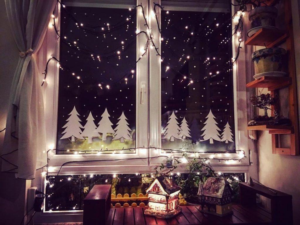 Новогодний декор окна своими руками