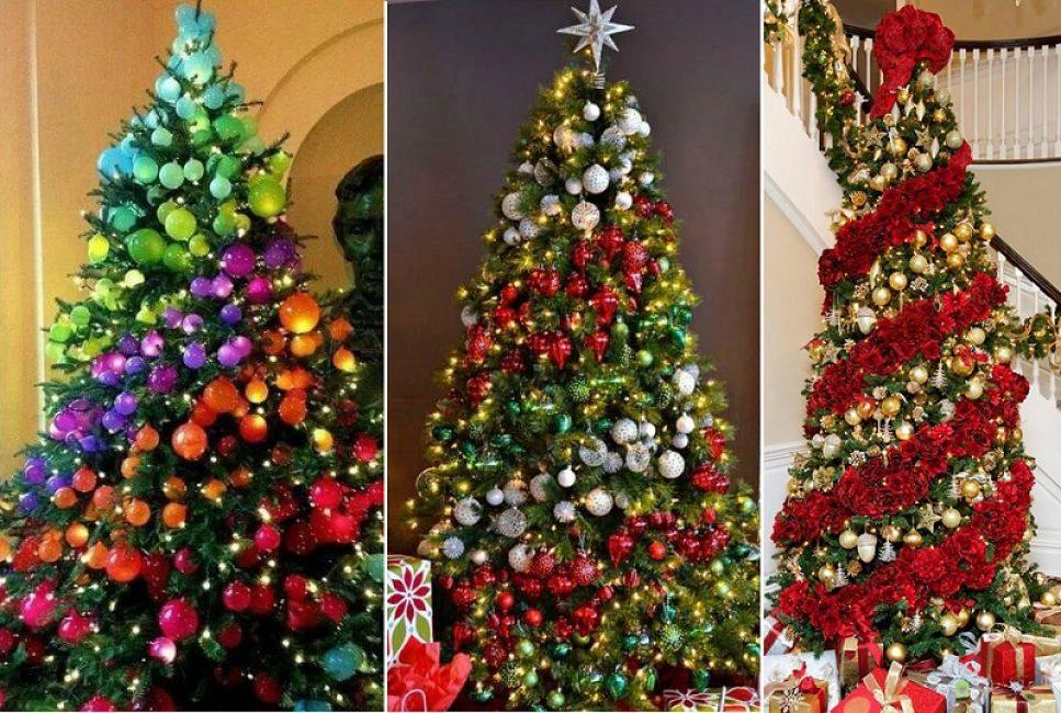 Украшенная по спирали новогодняя красавица всегд поражает яркостью и обилием декора