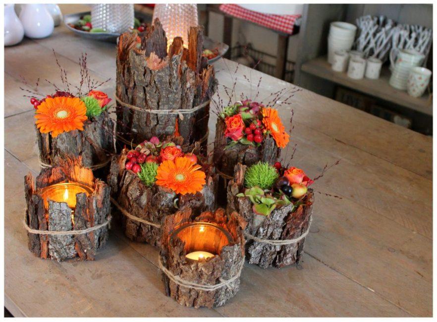 Сухая кора, пестрые букеты создают невероятно осенне-весеннее настроение