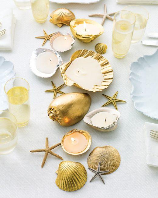 Окрашенные золотом ракушки не дадут забыть о море