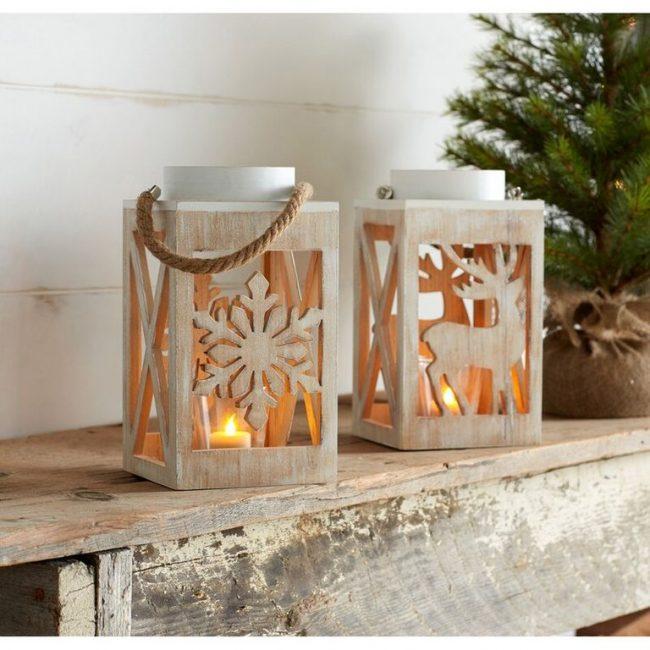 Рождественские деревянные вырезы в форме снежинок или оленя