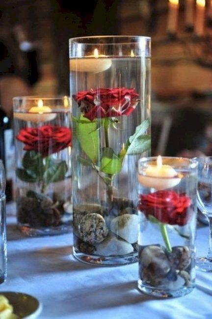 Вместо пустого стекла аквариум с садовыми розами