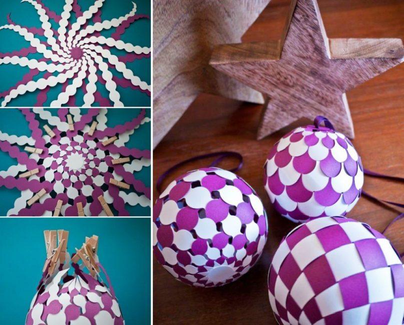 Плетеный елочный шарик