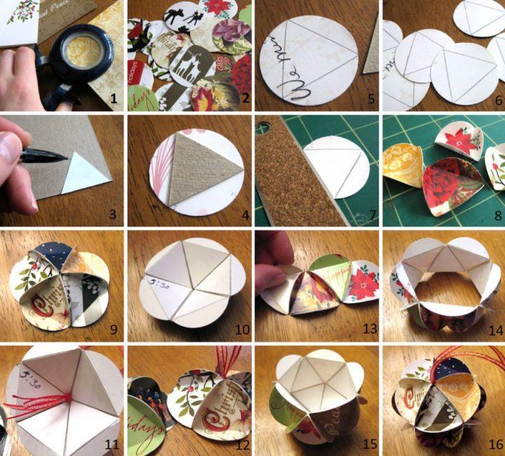 Фото-инструкция по изготовлению картонных шаров