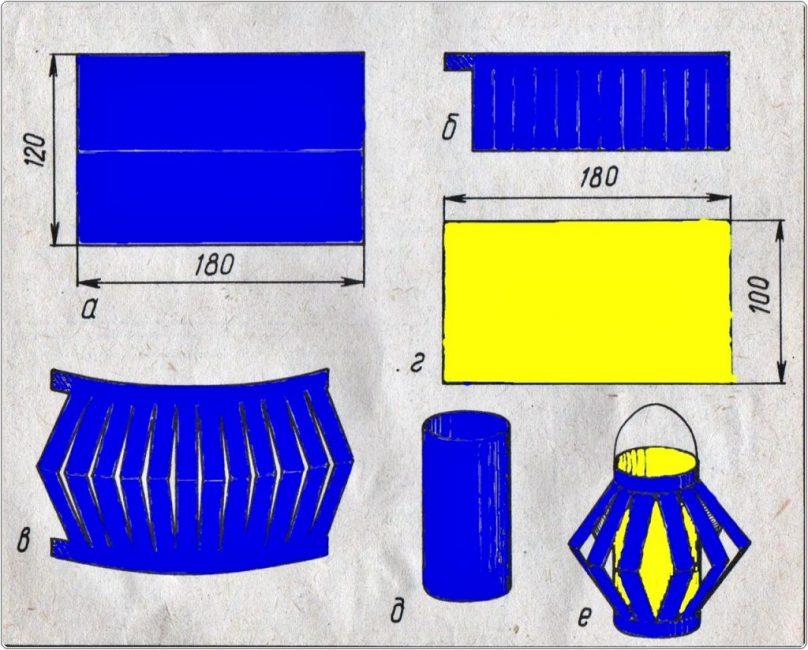 Схема изготовления бумажного фонарика