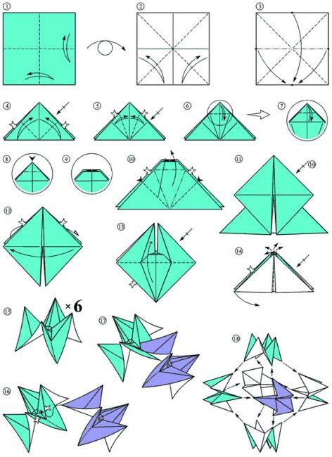 Схема изготовления игрушек оригами из бумажных модулей