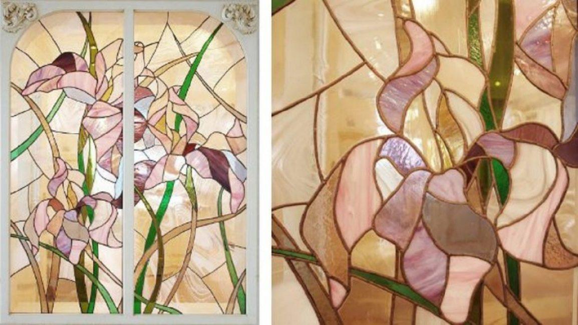 Элегантная картина из стекла в технике «Тиффани»