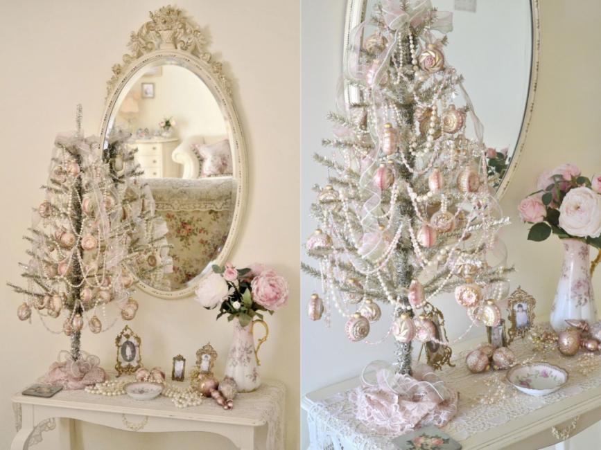 Елка-зефирка: вся в розовом с белыми бусами и шифоновыми лентами