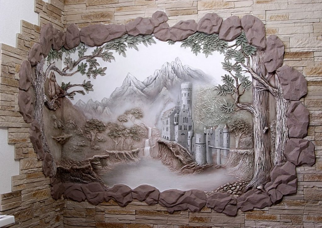 Рисунки из гипса на стене