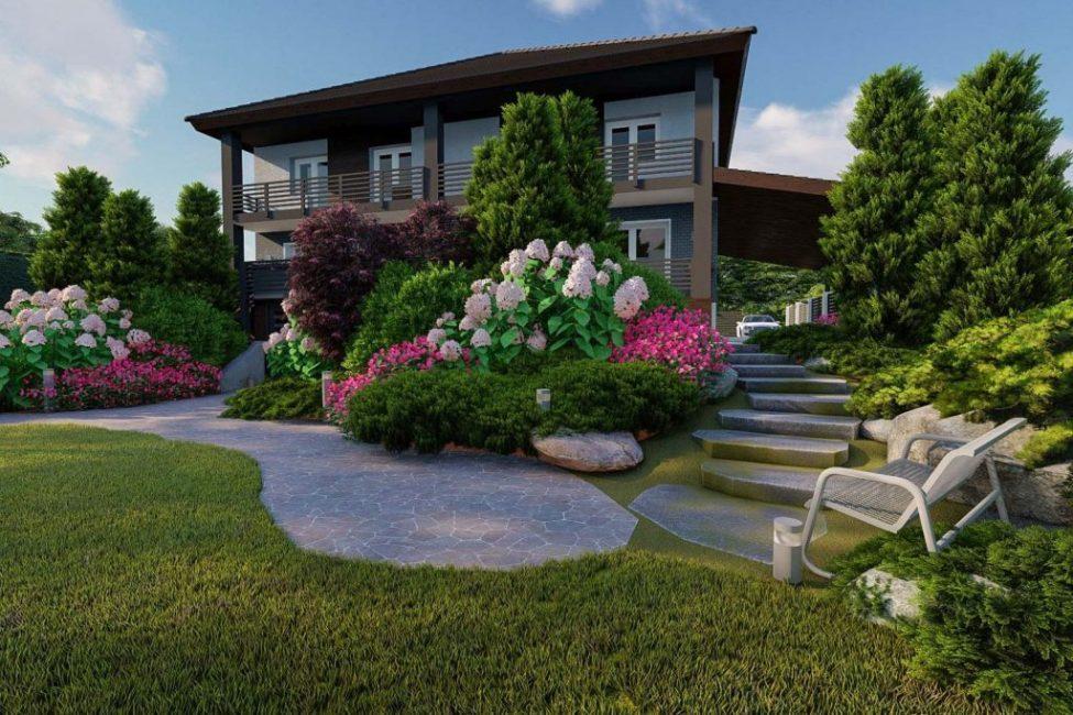 Шикарный дизайн-проект заднего двора дома