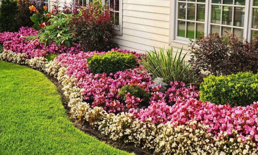 Дом по периметру могут украшать цветники