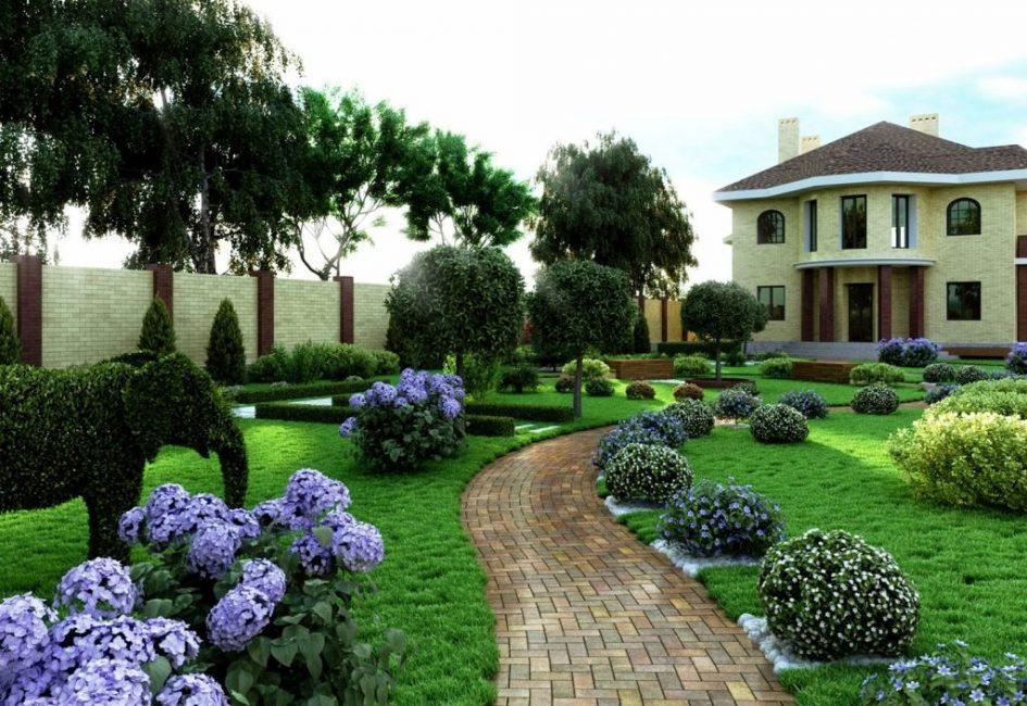 Сад в лилово-голубых оттенках