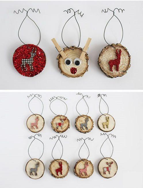 И снова олени, и они на спилах. Такое деревенское Рождество! Изображения животных можно вырезать из ткани, картона, фетра