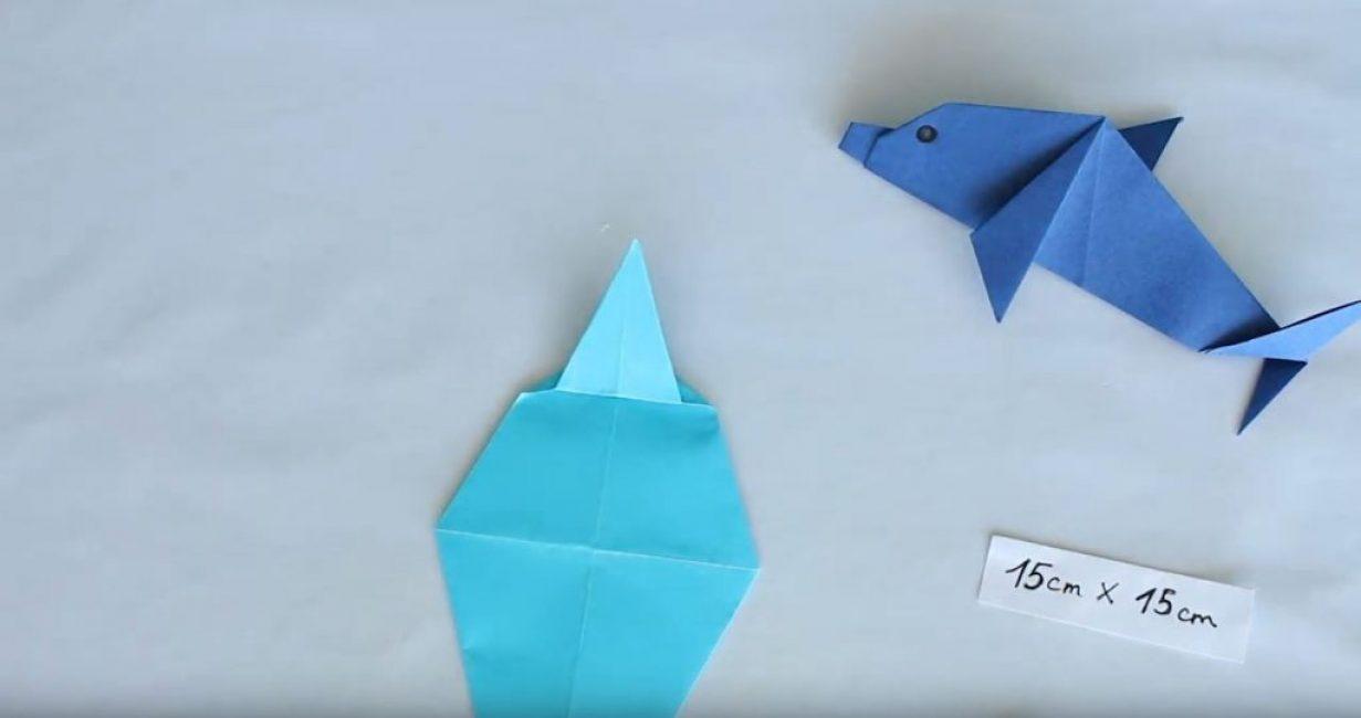 загибаем вверх наш большой треугольник