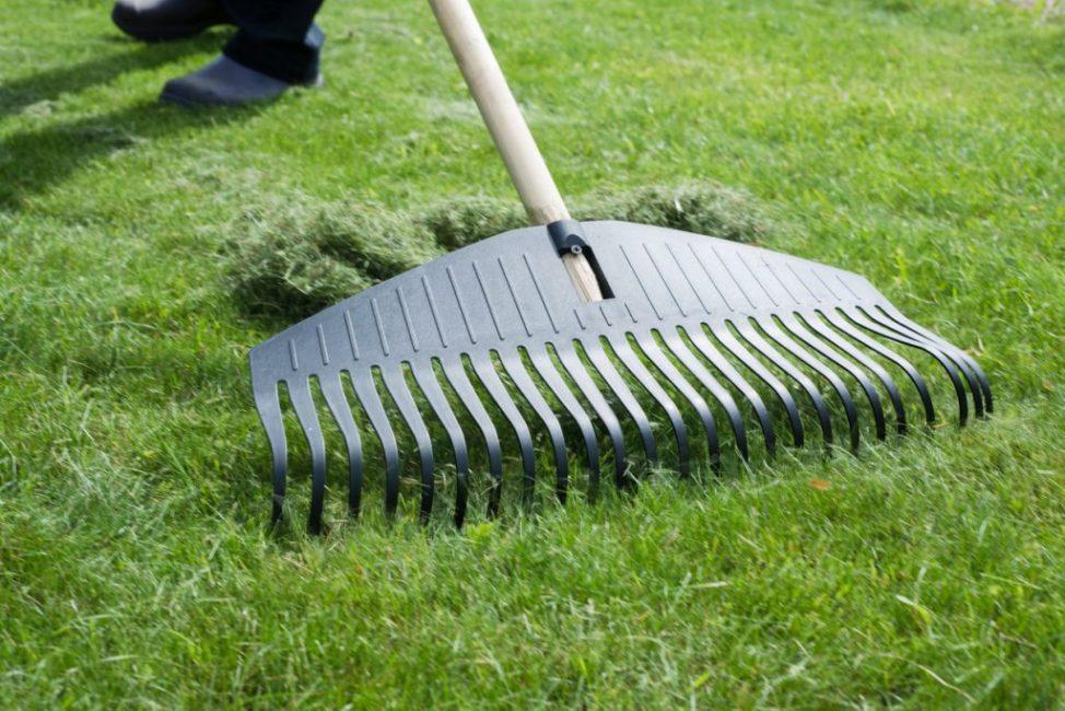 Удаление скошенной травы и дерна с помощью специальных граблей