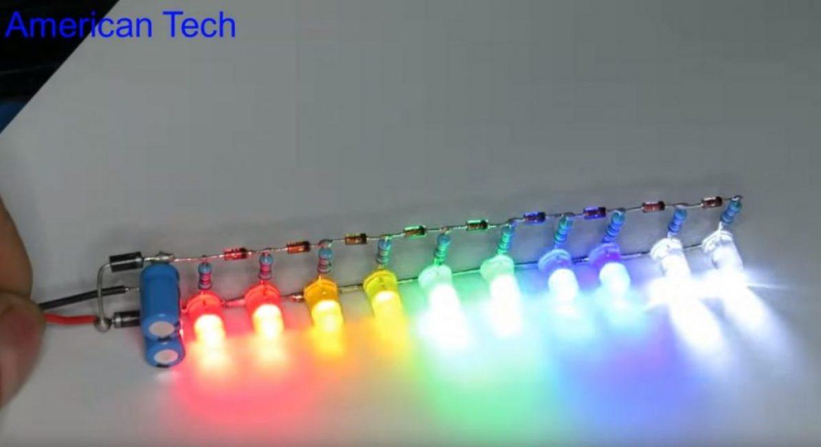 При максимальной громкости светиться будут все светодиоды