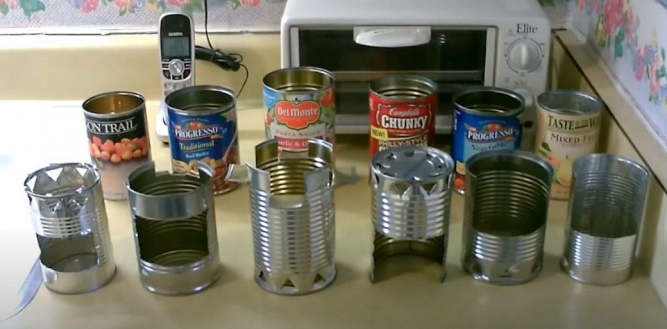 6 видов плит из консервных банок