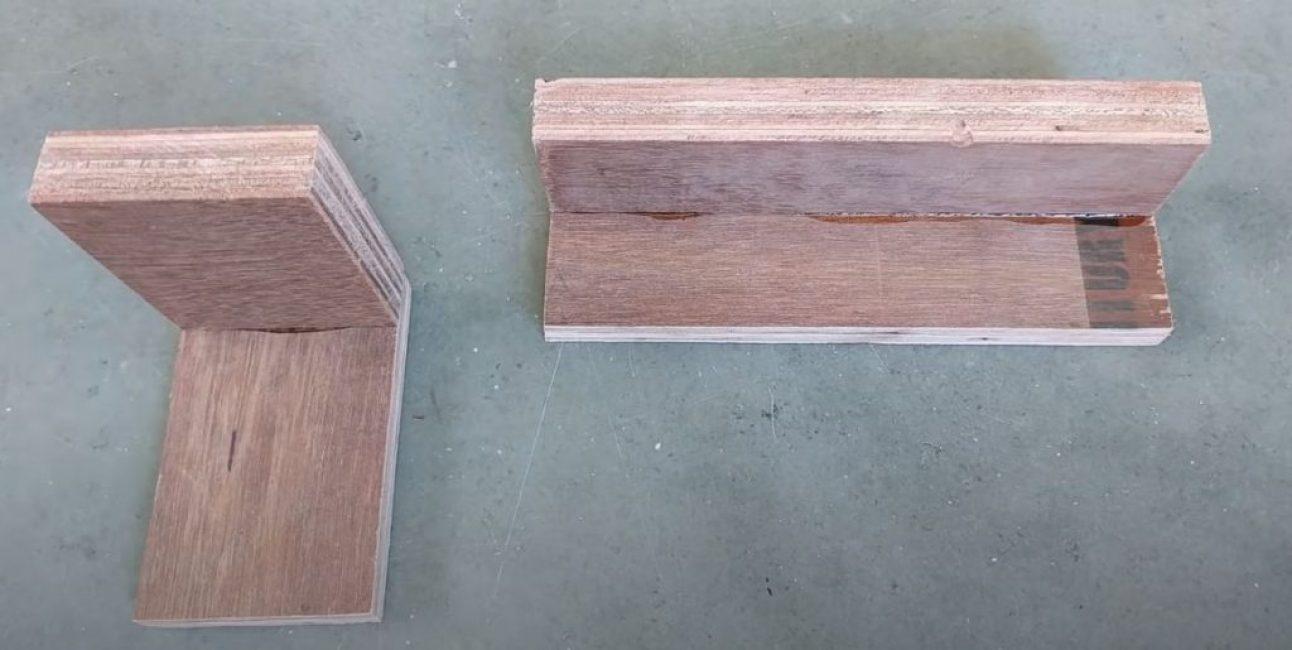 Вырезаем по две заготовки для каждого элемента и склеиваем их под углом 90 градусов