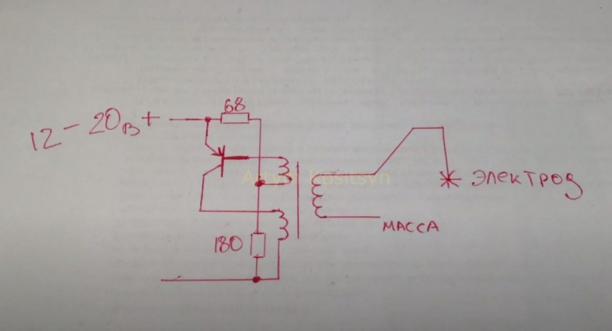 Собирать сварку будем по схеме однотактного блокинг-генератора на биполярном транзисторе FP1016