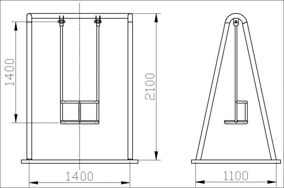 Простейшая схема деревянной одноместной качели из сети