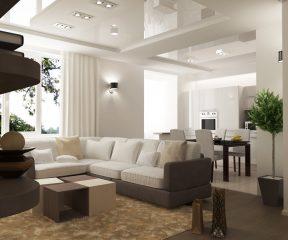 Интерьер совмещенной гостиной и кухни в коттедже 3