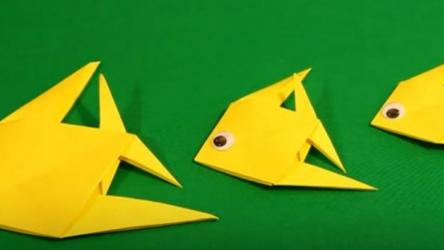 Рыбки оригами из бумаги для детей дошкольников🐟 | Схема +Видео
