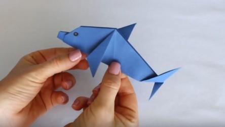 Дельфин 🐬 из бумаги своими руками: продолжаем пополнять домашний оригами зоопарк